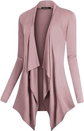 Urban CoCo Women's Drape Front Open Cardigan Long Sleeve Irregular Hem (L, Coffee) at Amazon Women's Clothing store