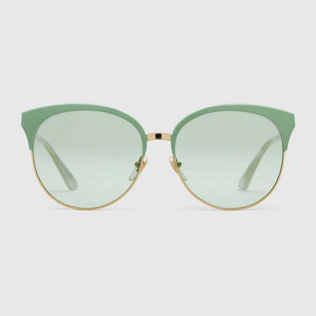 Specialized fit round-frame metal sunglasses - Gucci Women's Cat Eye 504319I03308806