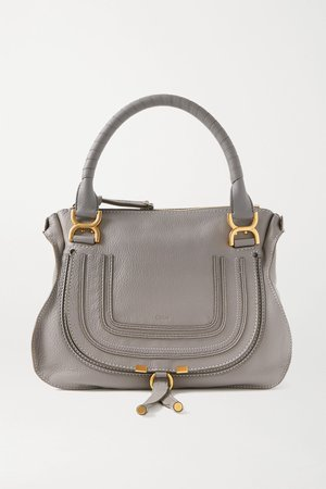 Gray Marcie medium textured-leather tote | Chloé | NET-A-PORTER