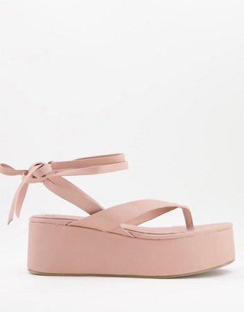 ASOS DESIGN Theme toe thong flatform sandals in blush | ASOS