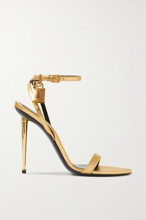 Padlock Metallic Leather Sandals - Gold