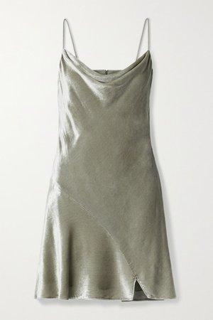 Alice Olivia - Carmelina Draped Velvet Mini Dress - Silver