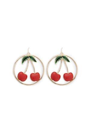 Cherry Hoop Drop Earrings | Forever 21