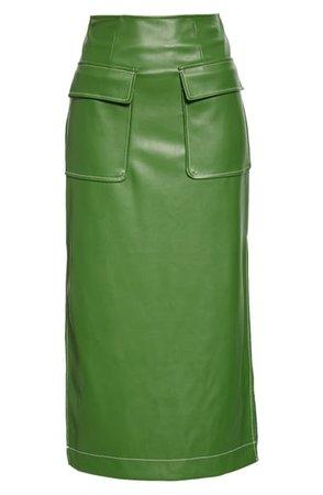 STAUD Burn Faux Leather Midi Skirt | Nordstrom