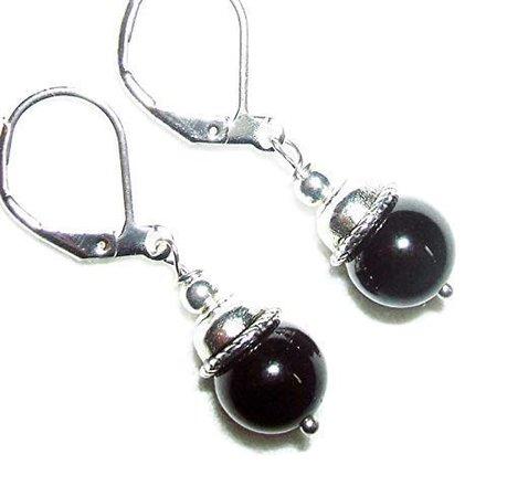 Amazon.com: BLACK TOURMALINE Earrings GENUINE SEMI PRECIOUS GEMSTONE Metaphysical BLOCKS NEGATIVE ENERGY Silver Plt Leverbacks: Handmade