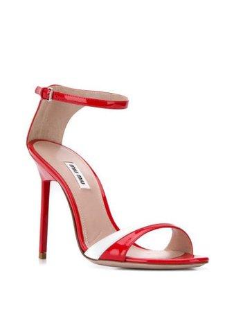 Red Miu Miu two-tone sandals 5X440CF10506E - Farfetch