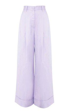 light purple trousers loose