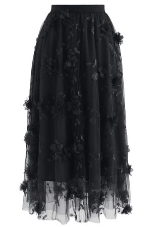 3D Mesh Flower Embroidered Tulle Midi Skirt in Black - Retro, Indie and Unique Fashion