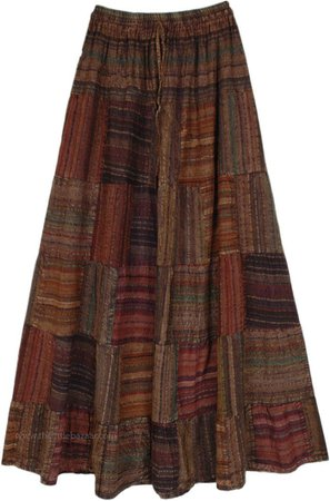 Striped Patchwork Gypsy Long Skirt in Earth Tones in Cotton