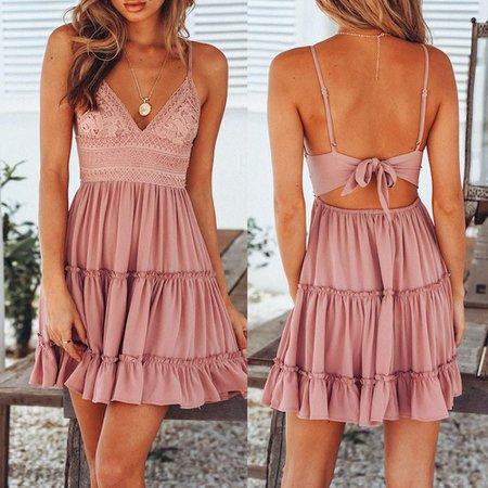 Genmoment Women Summer Backless Mini Dress Evening Party Beach Dress Sundress