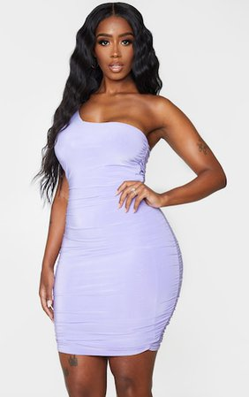 Shape Lilac Slinky Ruched Bodycon Dress | PrettyLittleThing