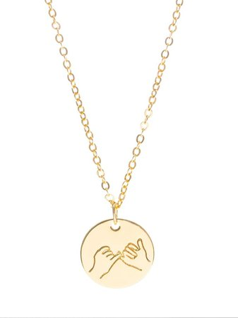 Hand Engraved Round Pendant Necklace | SHEIN