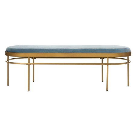 "Shop Safavieh Sylva Oval Bench-Slate Blue / Gold - 63"" x 22"" x 20"" - On Sale - Overstock - 23591360"