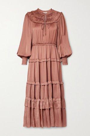 Serena Ruffled Tiered Satin Midi Dress - Antique rose