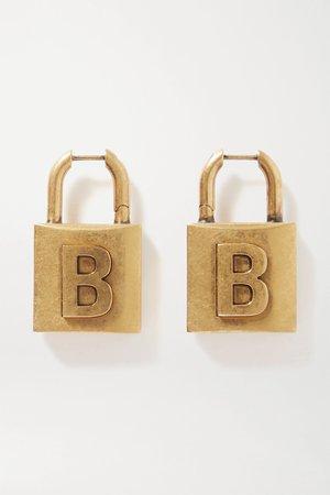 Gold Lock embossed gold-tone earrings | Balenciaga | NET-A-PORTER