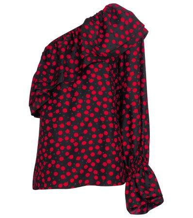 Saint Laurent, Polka-dot one-shoulder silk blouse