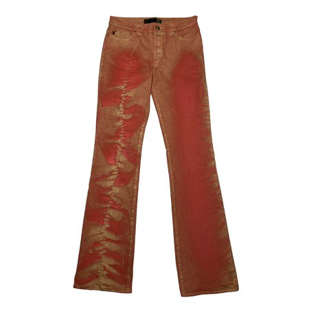 Roberto Cavalli red regular waist flare jeans with... - Depop