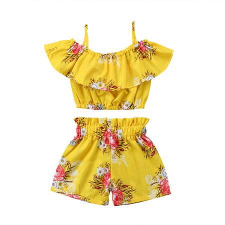CHRONSTYLE - 2pcs Toddler Baby Girl Clothes Floral Ruffled Top Vest Shorts Yellow Summer Outfits Set - Walmart.com