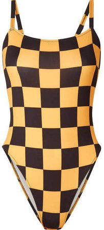 Re/done The Malibu Checked Swimsuit - Yellow