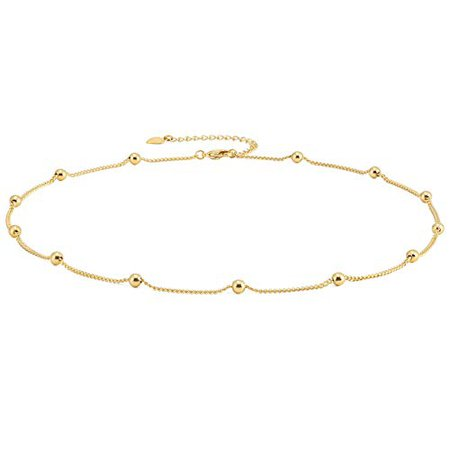 Amazon.com: Gold Choker Necklace for Women 18k Gold Plated Curb Ball Satellite Chain Dipped Short Chokers Dainty Layering Jewelry 16'': Aobei Pearl
