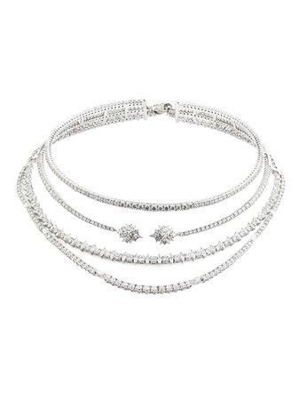Yeprem 18kt White Gold Diamond Illusion Layered Necklace - Farfetch