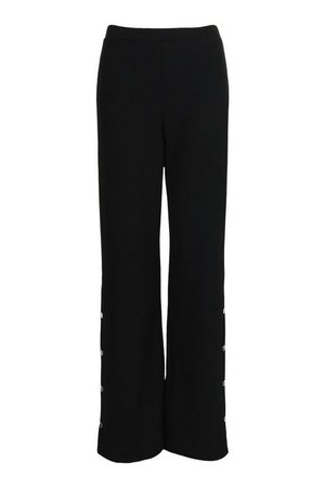Popper Side Wide Leg Casual Trousers | boohoo