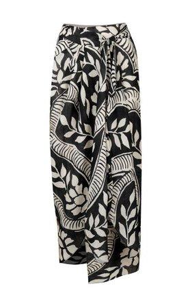 Zebra Found In India Linen Midi Skirt By Johanna Ortiz   Moda Operandi