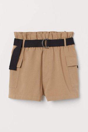 Belted Utility Shorts - Beige