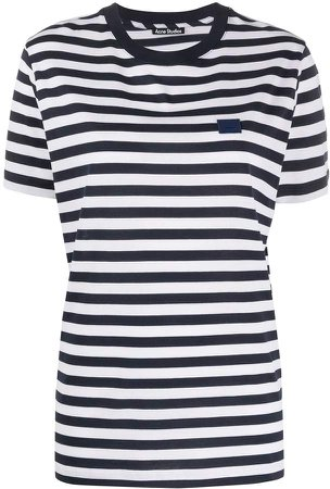 striped Face patch T-shirt