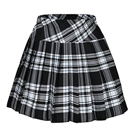 Genetic Women`s Plaid Elasticated Pleated Skeleton Halloween Costumes Skirt (XL, White black)