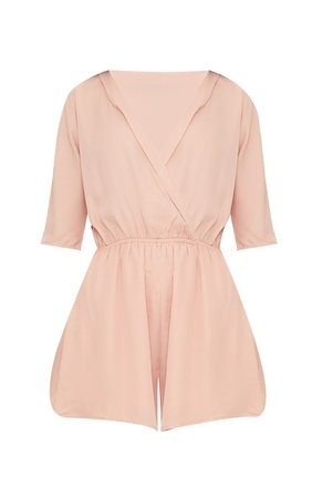 Bobby Hot Pink Wrap Front Playsuit   Knitwear   PrettyLittleThing