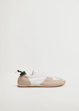 Leather mixed sneakers - Women   Mango USA
