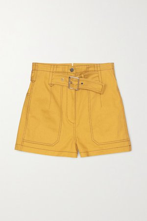 Belted Cotton-twill Shorts - Mustard
