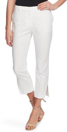 Side Slit Cotton Blend Doubleweave Trousers