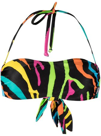 Moschino zebra-print bandeau bikini top - FARFETCH