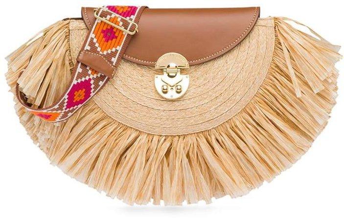fringed raffia shoulder bag