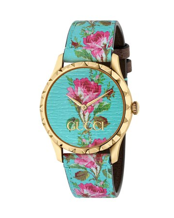Gucci 38mm G-Timeless Blooms Leather Watch