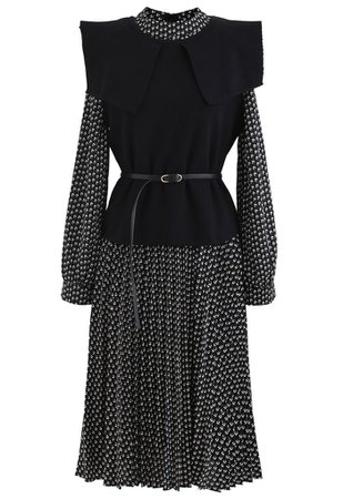 Belted Knit Vest and Pleated Chiffon Twinset Dress - Retro, Indie and Unique Fashion