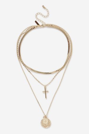 **Coin and Cross Multirow Necklace | Topshop