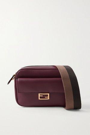 Burgundy Baguette canvas-trimmed leather shoulder bag | Fendi | NET-A-PORTER