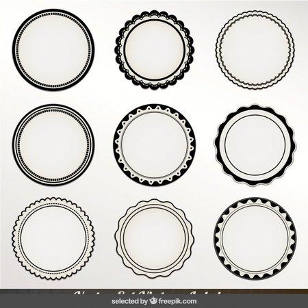 Monochrome circular labels Vector | Free Download
