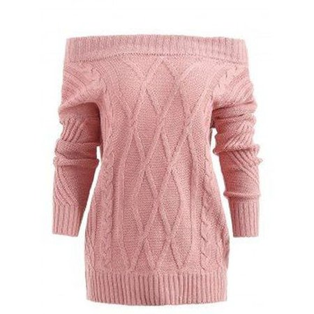 cold-shoulder cable-knit pink sweater