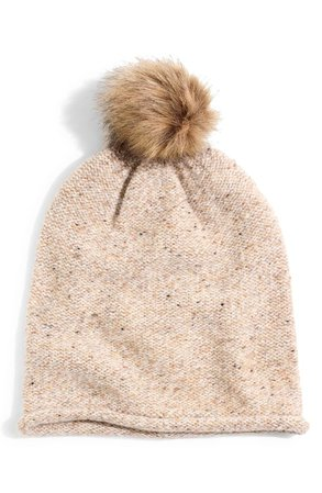 Madewell Faux Fur Pompom Beanie | Nordstrom