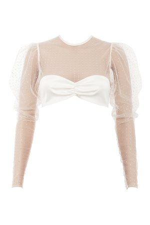 Clothing : Tops : 'Serena' Ivory Crystal Cropped Top