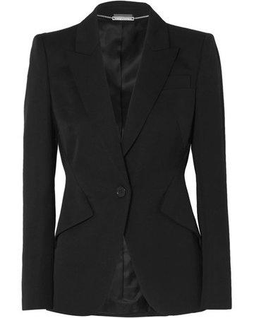 Alexander McQueen Grain De Poudre Wool Blazer in Black - Lyst