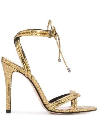 Schutz Metallic High Heel Sandals S0138715350023 Gold | Farfetch