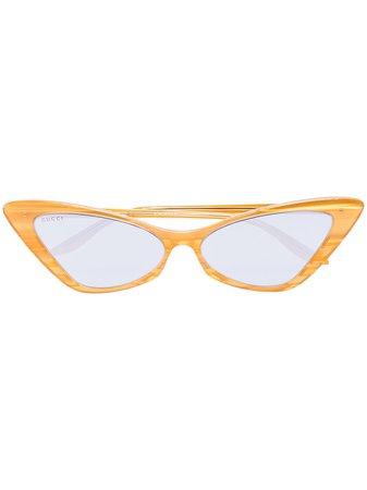 Gucci Eyewear cat-eye tinted sunglasses yellow GG0708S - Farfetch