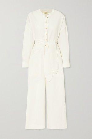 Net Sustain X Lg Electronics Mandra Belted Crinkled Organic Cotton Jumpsuit - Cream