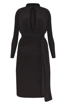 Black Slinky Keyhole High Neck Draped Midi Dress   PrettyLittleThing USA