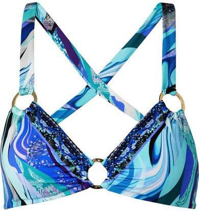 Embellished Printed Triangle Bikini Top - Blue